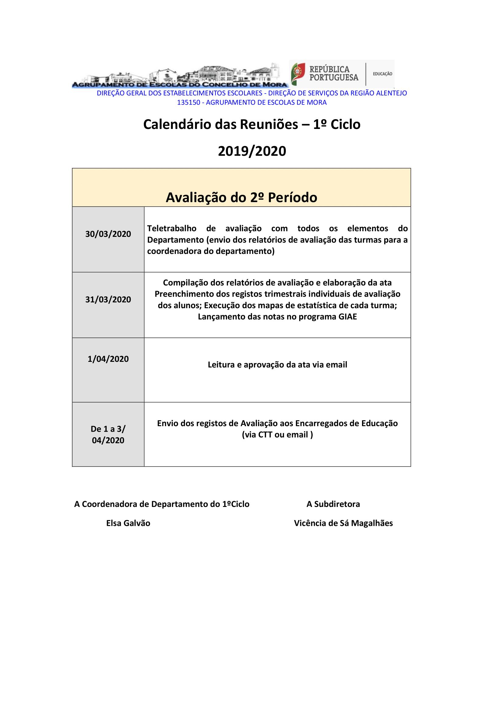 Reuniões do 2.º Período – 1.º Ciclo